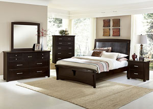 Transitions Merlot King Upholstered Bed w/ Dresser, Mirror, Drawer Chest and Nightstand