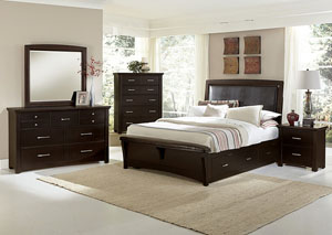 Transitions Merlot King Upholstered Storage Bed w/ Dresser, Mirror, Drawer Chest and Nightstand