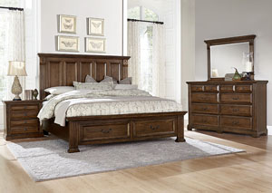 Woodlands Oak Queen Storage Bed w/ Dresser, Mirror, Drawer Chest and Nightstand