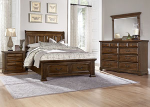 Woodlands Oak Queen Storage Sleigh Bed w/ Dresser, Mirror, Drawer Chest and Nightstand