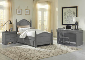 French Market Zinc Twin Poster Bed