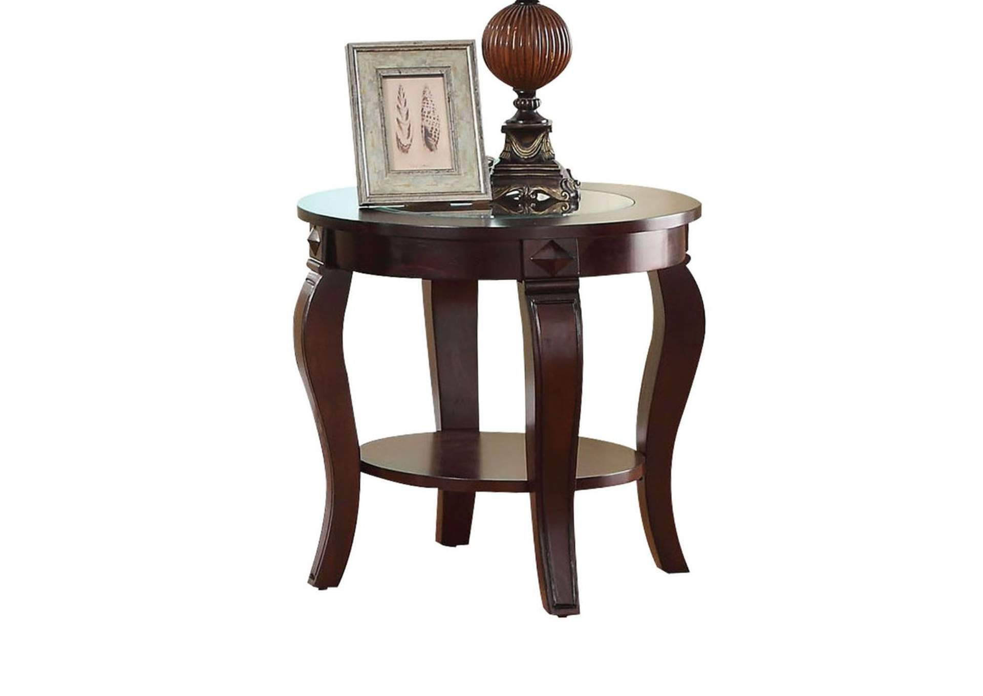 Goree S Furniture Opelika Al Riley Walnut And Clear Glass End Table
