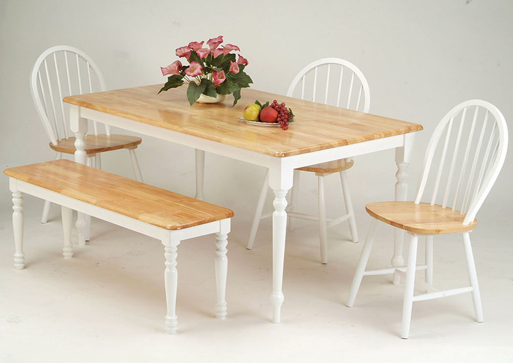 Farmhouse Natural & White Windsor Chair (Set of 4),Acme