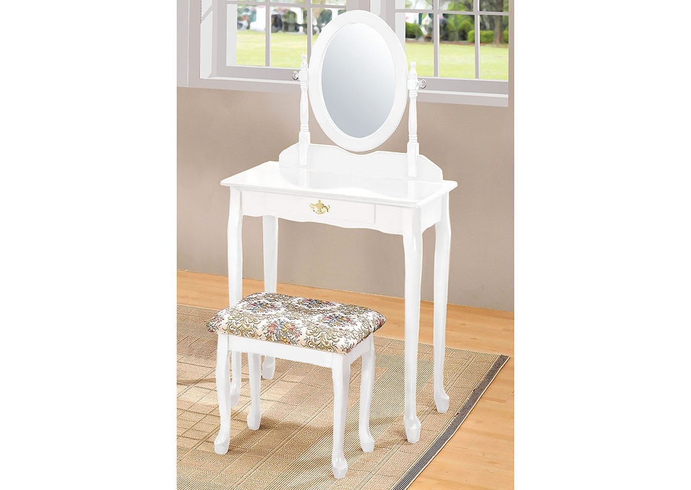 Goree\'s Furniture - Opelika, AL Queen Anne White Vanity Set
