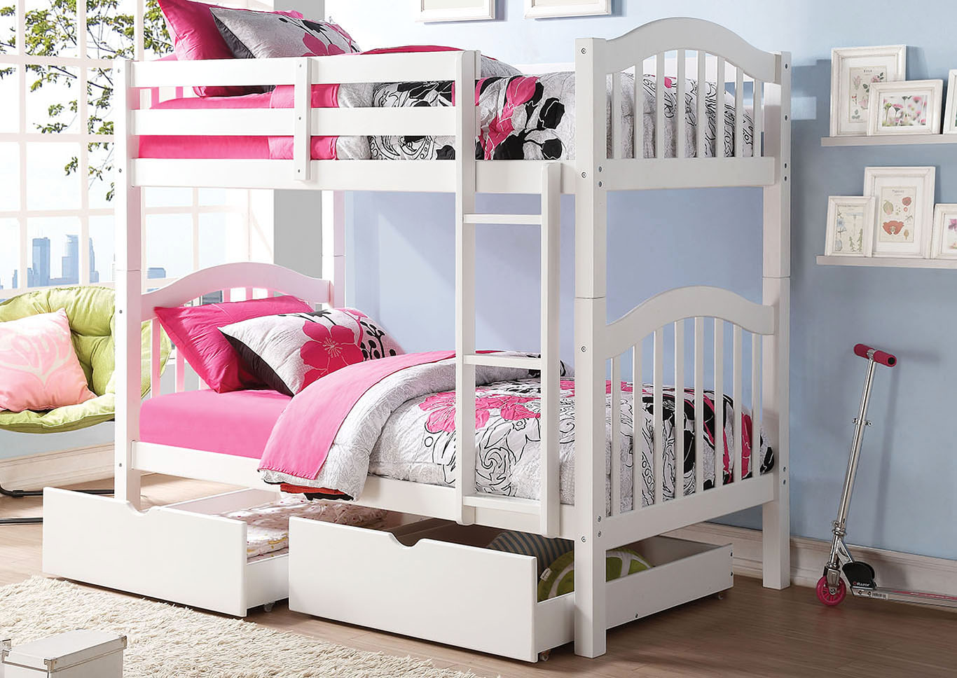 Heartland White Twin/Twin Bunk Bed w/Storage,Acme
