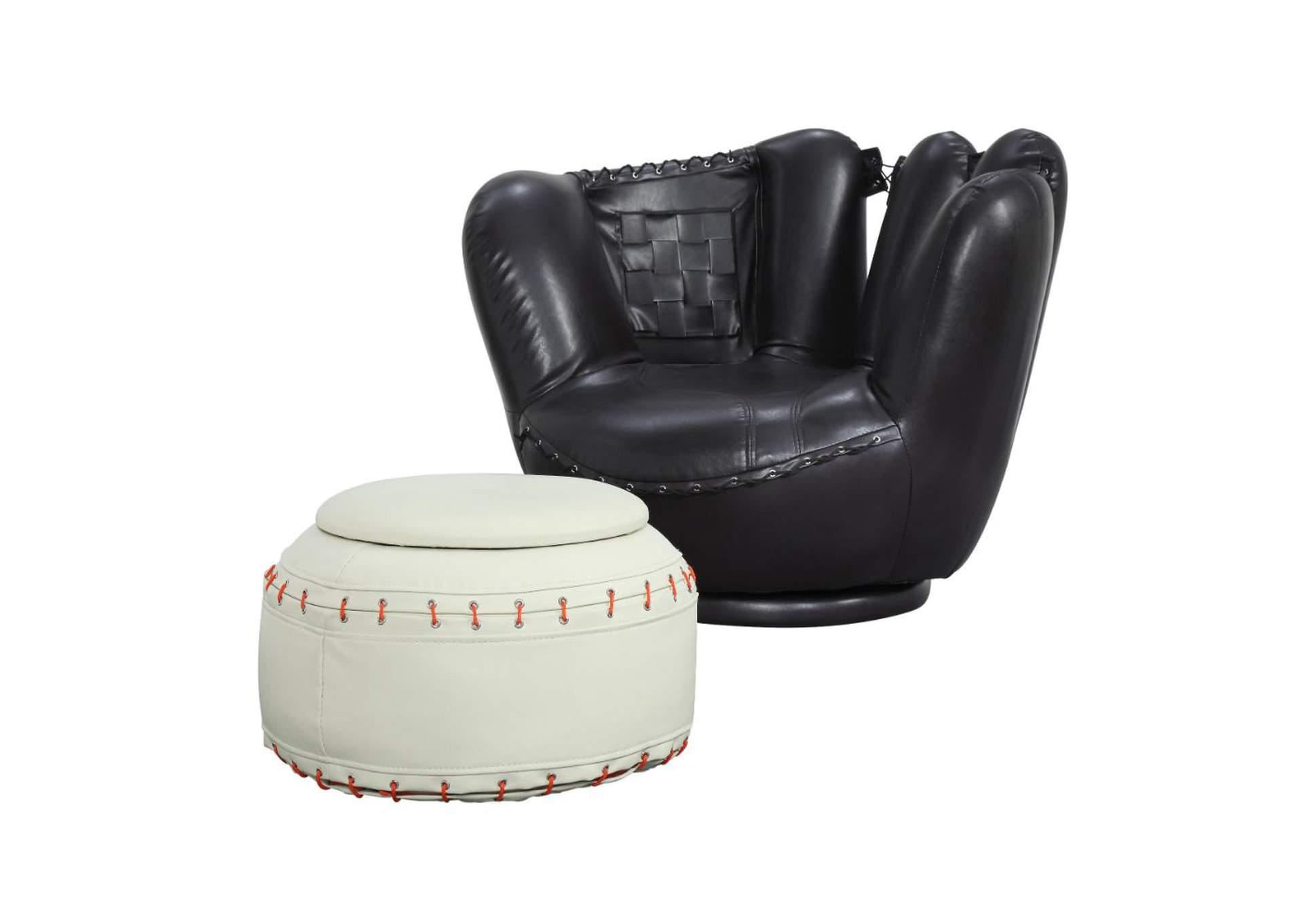 Just Furniture All Star Baseball Black Glove Chair White Ottoman