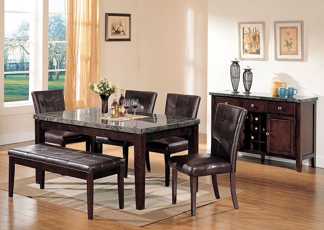 Danville Black Marble/Walnut Dining Table,Acme