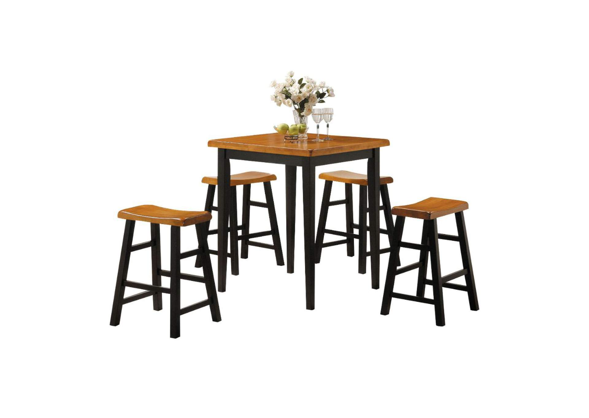 Gaucho Oak & Black 5 Piece Counter Height Dining Set,Acme