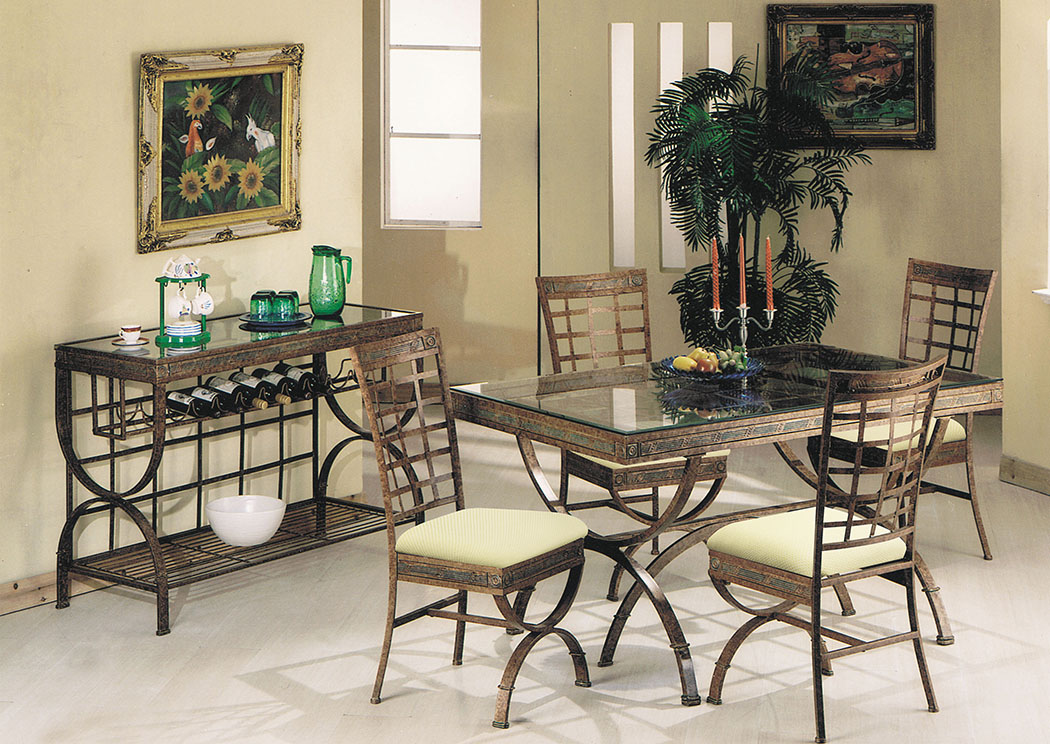 Egyptian Bronze Patina & Glass Dining Table,Acme