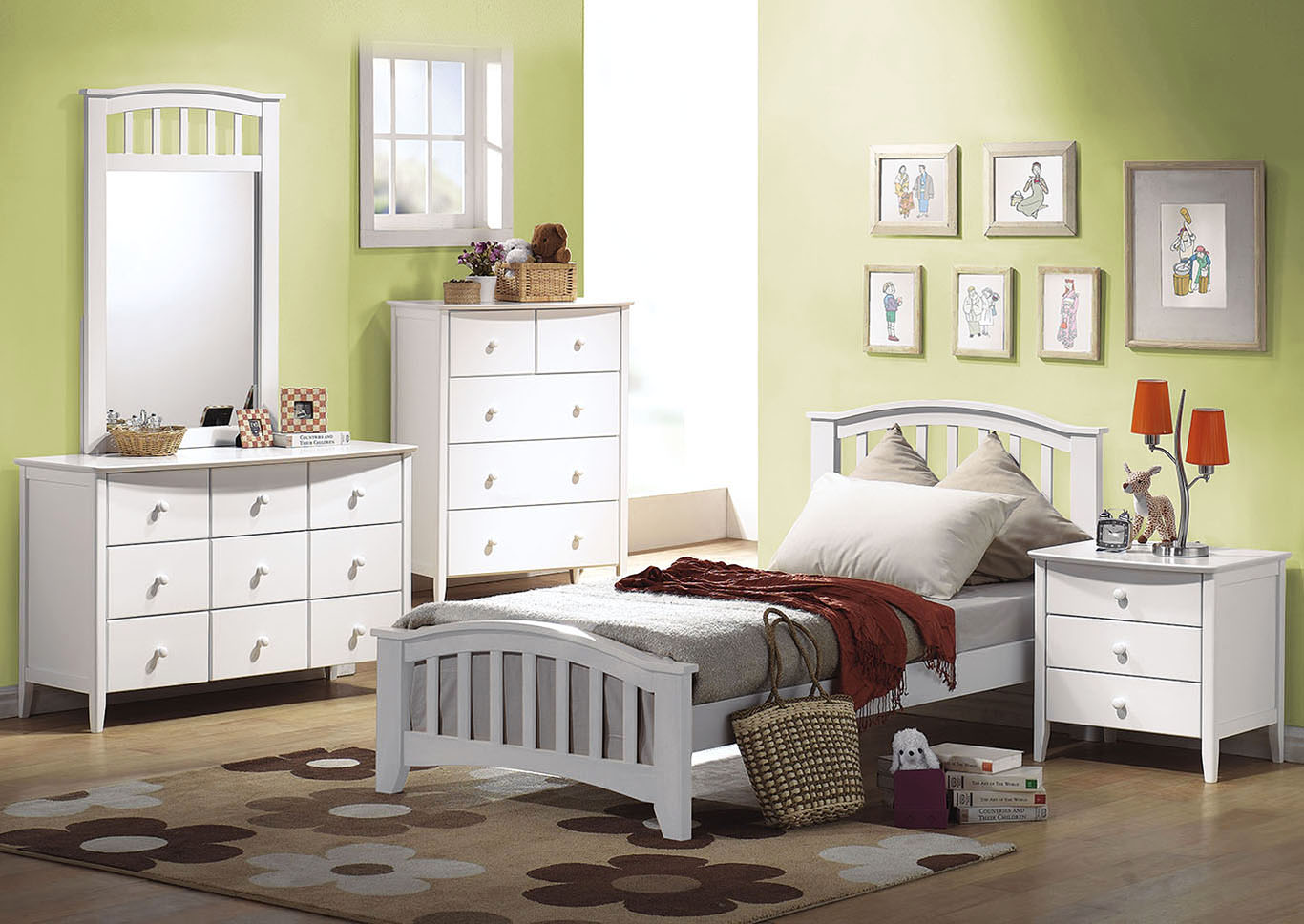 The Furniture Outlet NY San Marino White Twin Panel Bed
