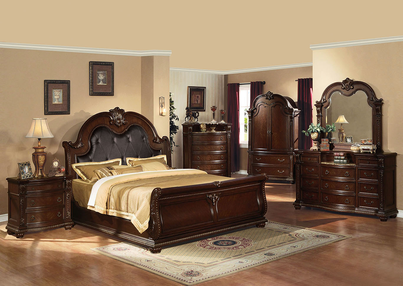 Anondale Espresso PU and Cherry Queen Upholstered Sleigh Bed,Acme
