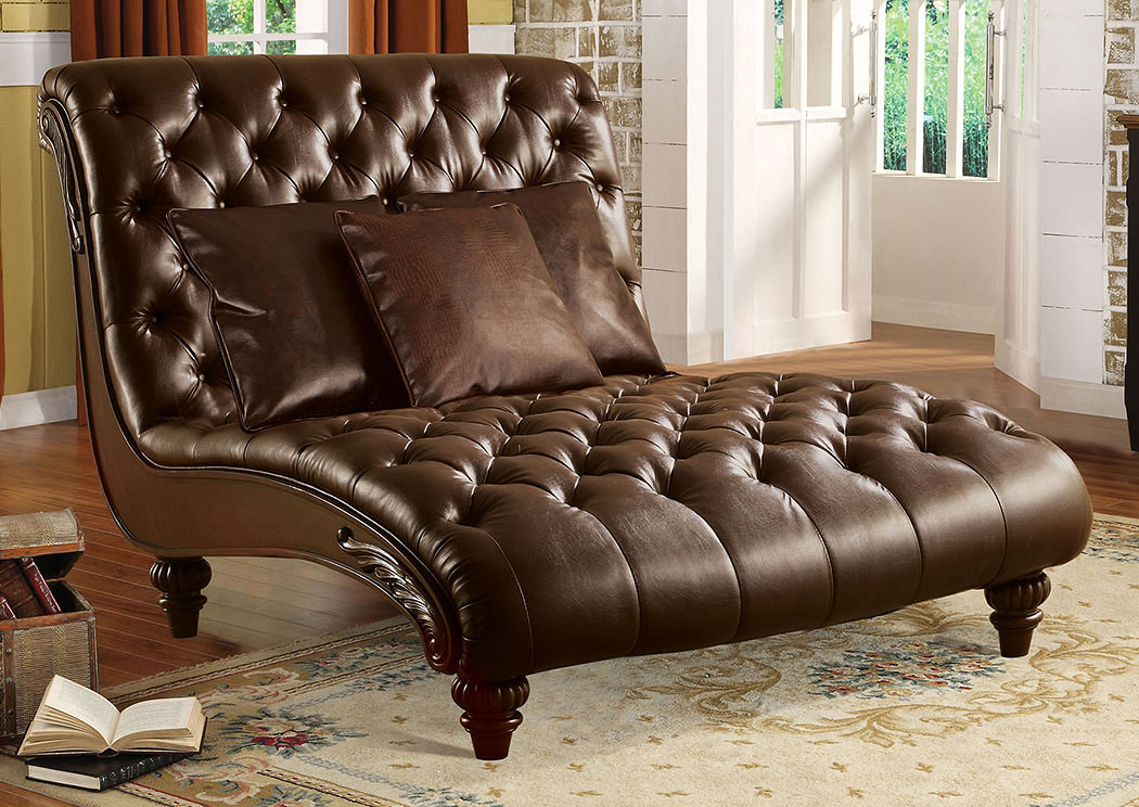 Anondale 2 Tone Brown PU Chaise w/3 Pillows,Acme