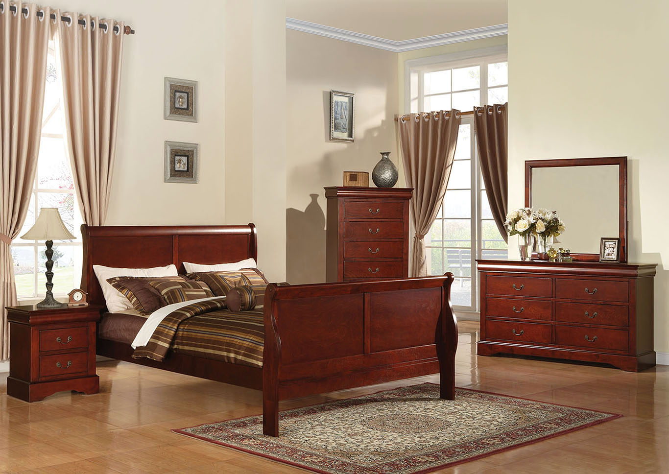 - Louis Philippe III Cherry California King Bed Best Buy Furniture