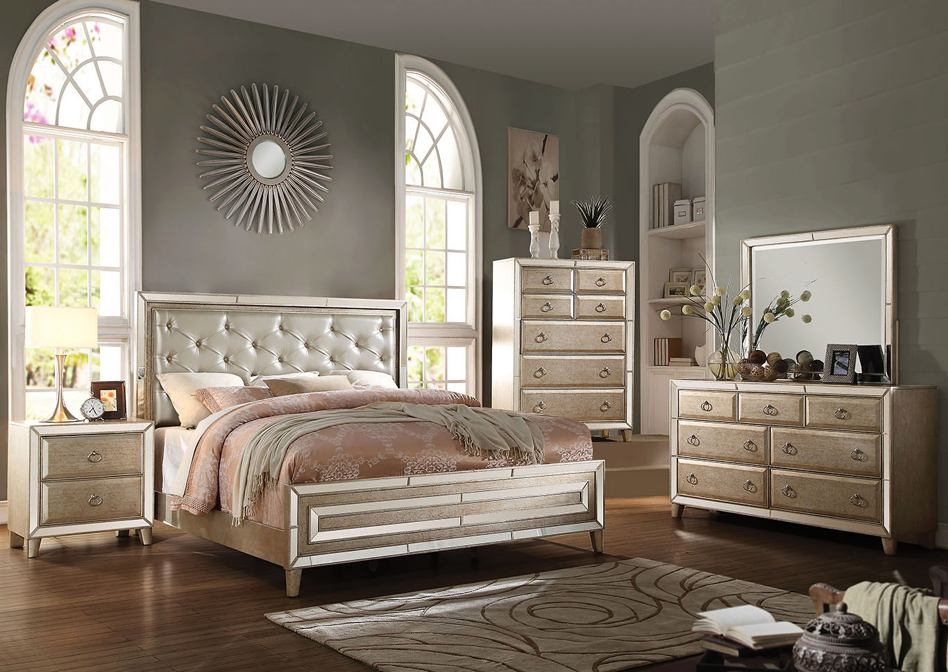 Voeville Matte Gold PU and Antique Gold Queen Bed,Acme