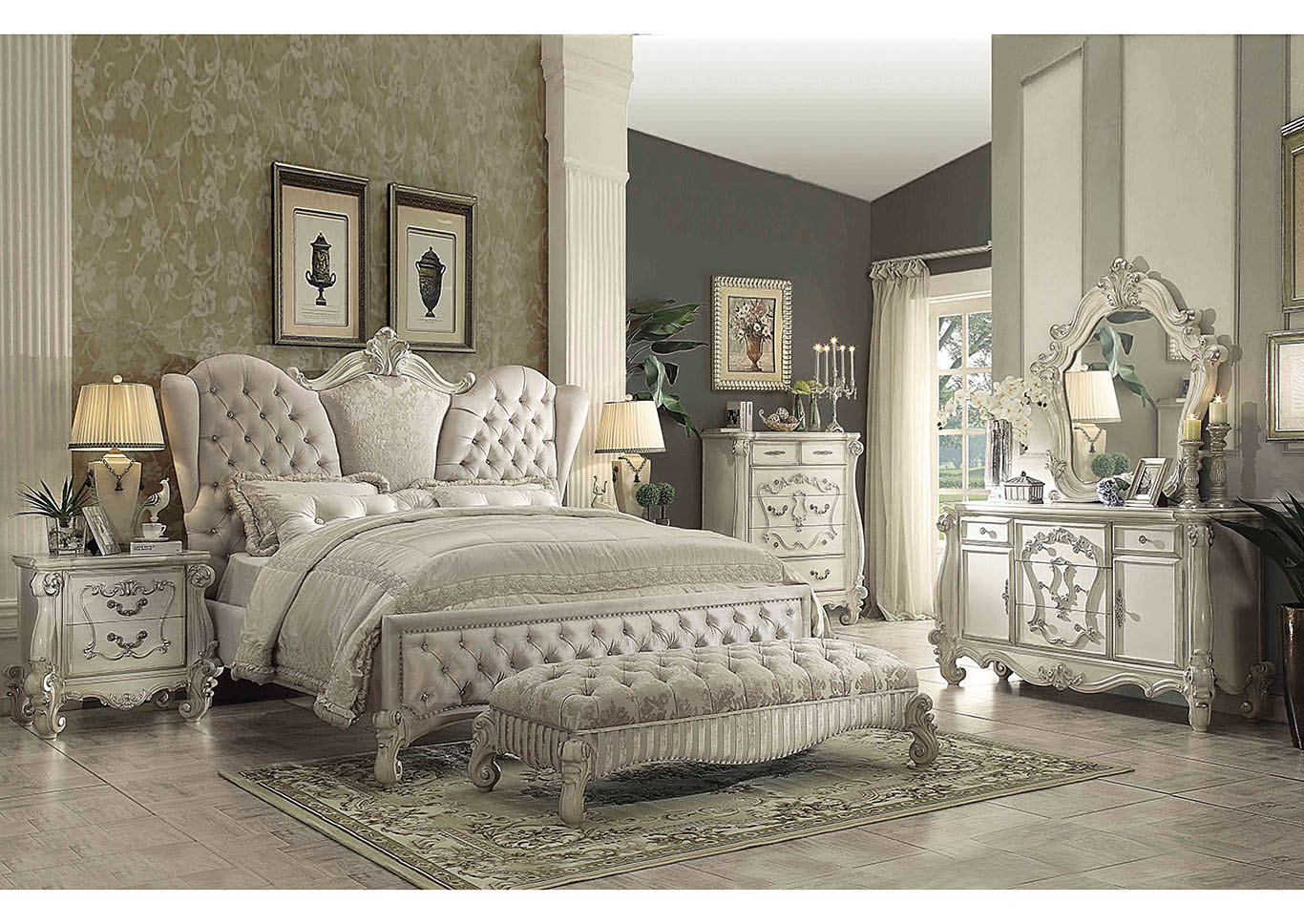 Versailles Ivory Velvet and Bone White Queen Upholstered Bed,Acme