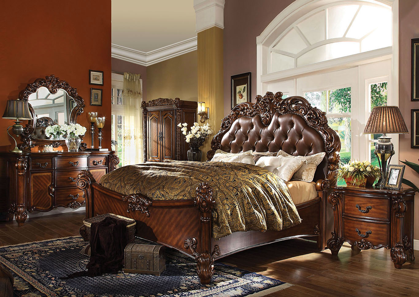 Vendome Cherry Queen Upholstered Bed w/Dresser and Mirror,Acme