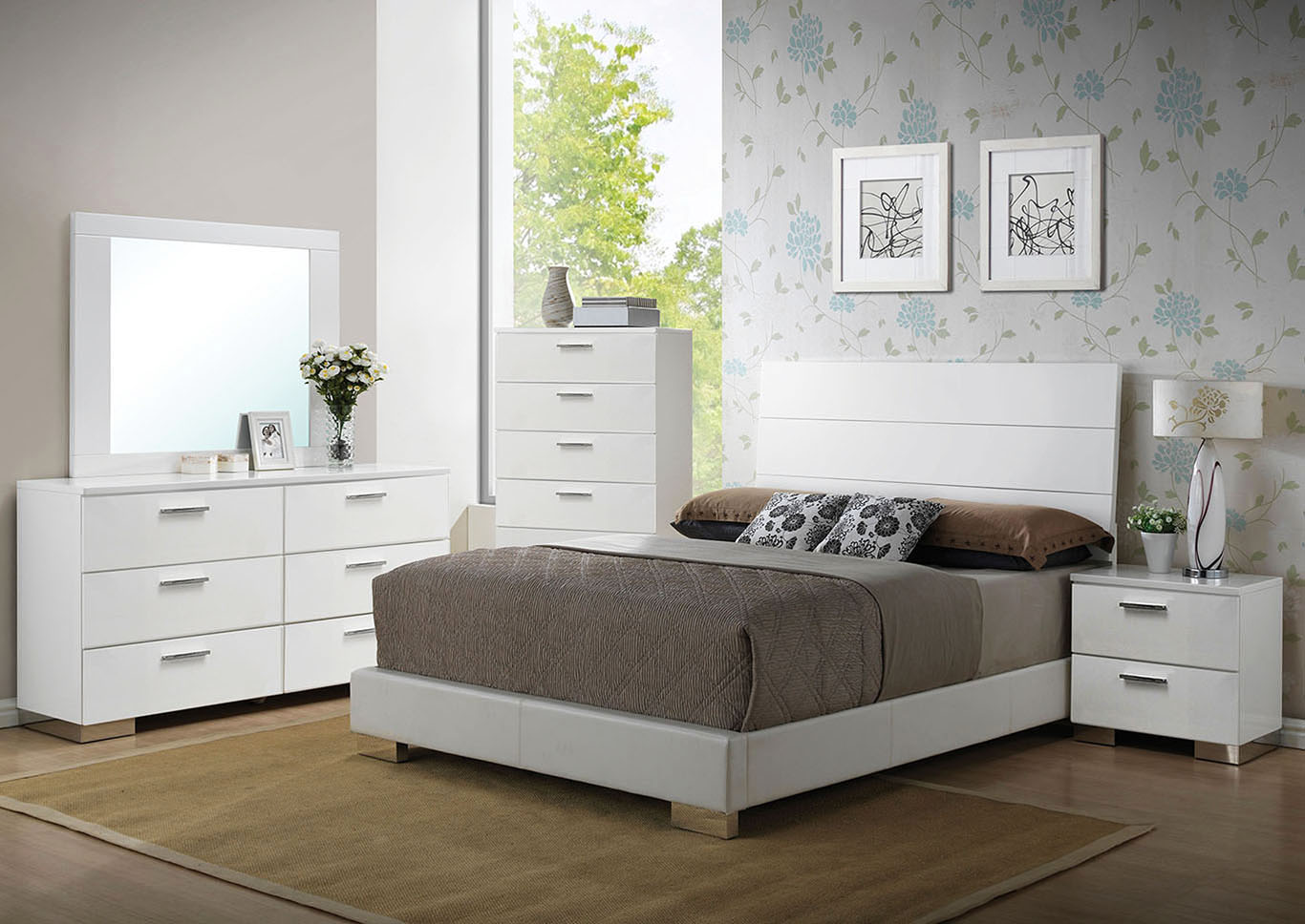 Lorimar White Queen Platform Bed w/Dresser and Mirror,Acme