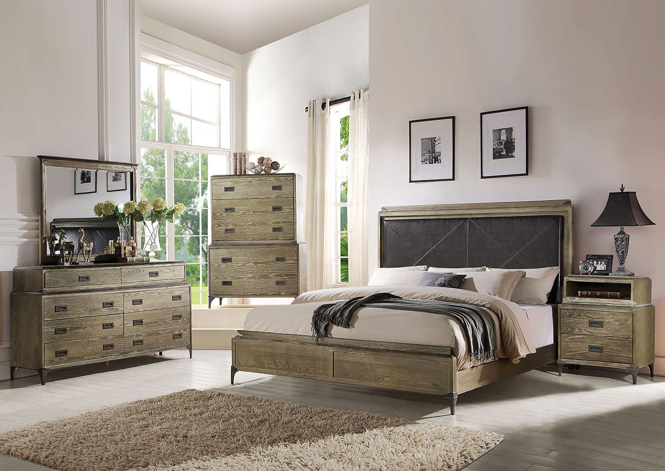 Athouman Weathered Oak Queen Panel Bed,Acme