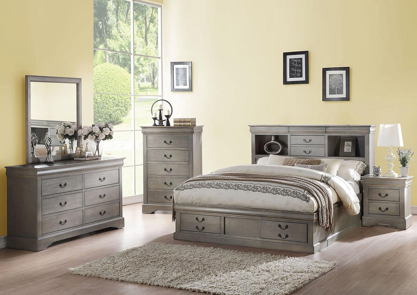 aeb27c4a6a6e1 Louis Philippe III California King Storage Bed w Dresser   Mirror