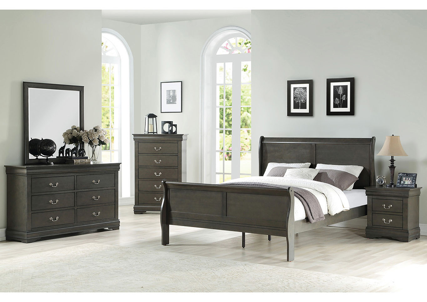 f45022f0707ec The Furniture Outlet NY Louis Philippe Dark Grey Eastern King Sleigh Bed
