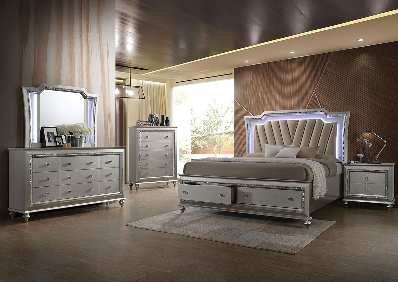 Kaitlyn champagne california king led storage bed w dresser mirroracme