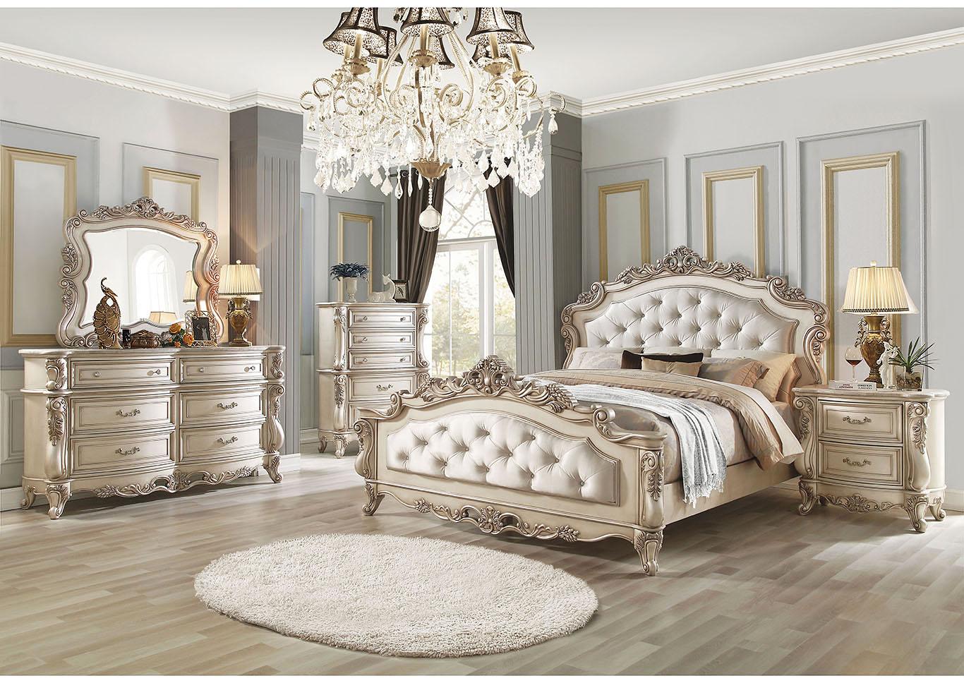 Just Furniture Gorsedd Antique White California King Bed