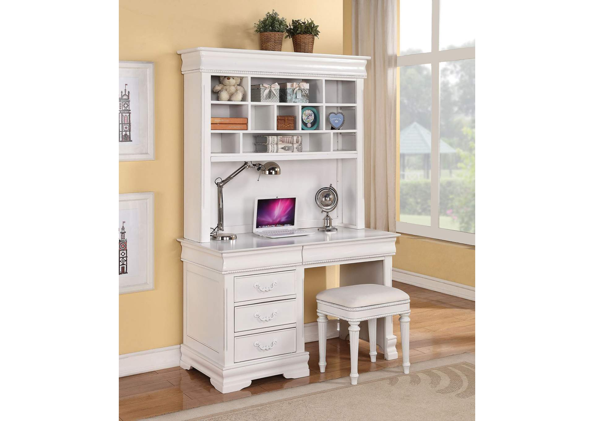 Classique White Computer Desk w/Hutch (With Back Panel),Acme