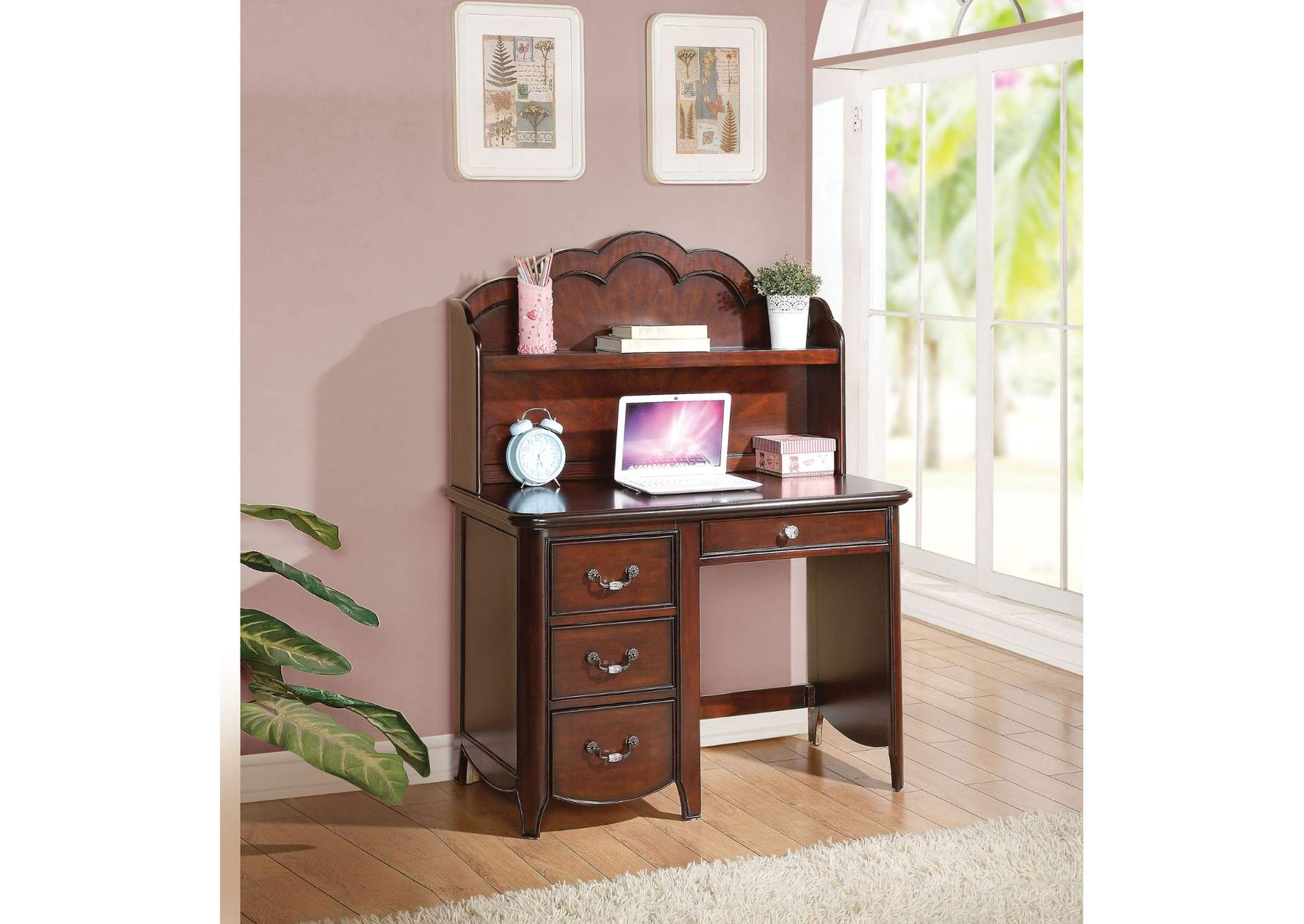 Cecilie Cherry Computer Desk w/Hutch,Acme
