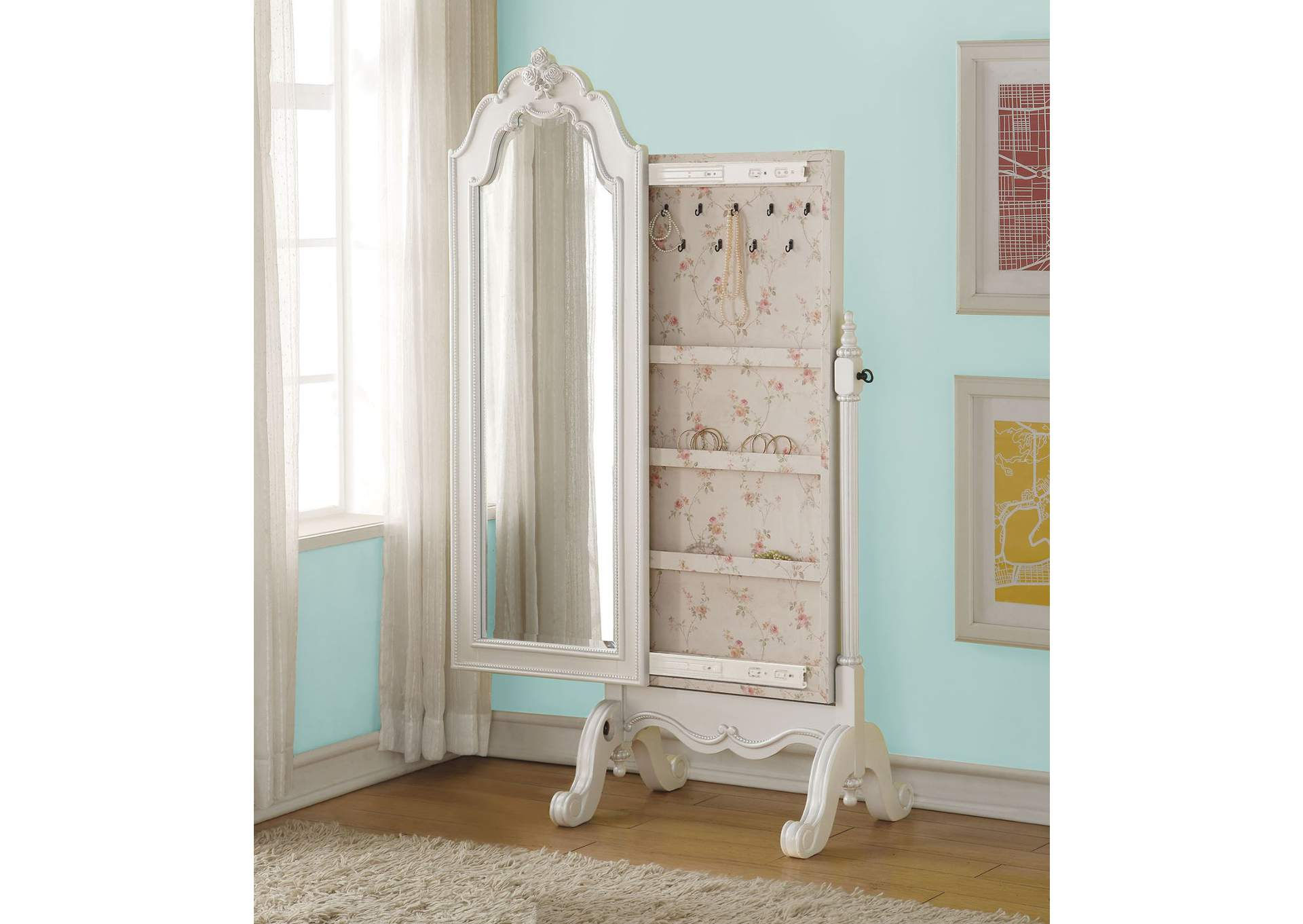 Edalene Pearl White Jewerly Armoire (Cheval),Acme