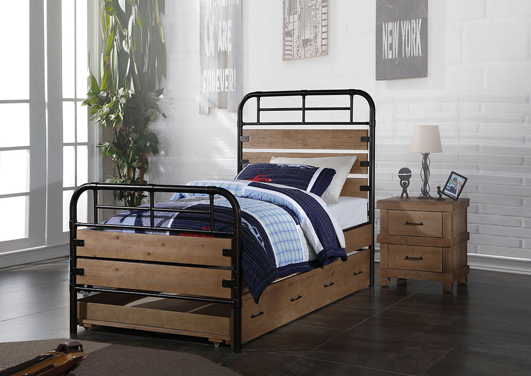 Adams Antique Oak Twin Panel Bed,Acme