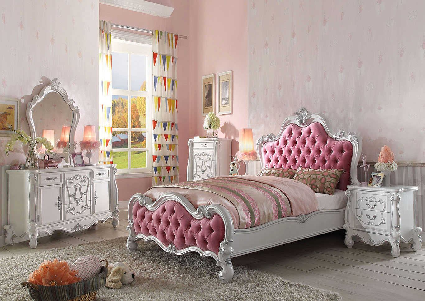 Versailles Antique White/Pink Upholstered Full Bed w/Dresser & Mirror,Acme
