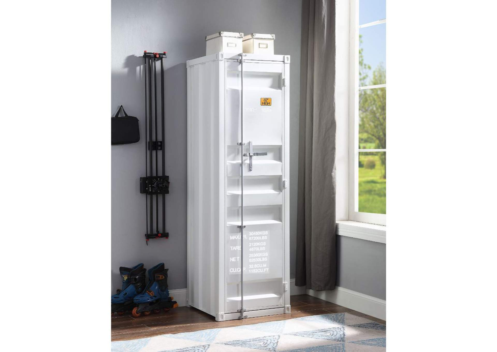 Cargo White Wardrobe (Single Door),Acme