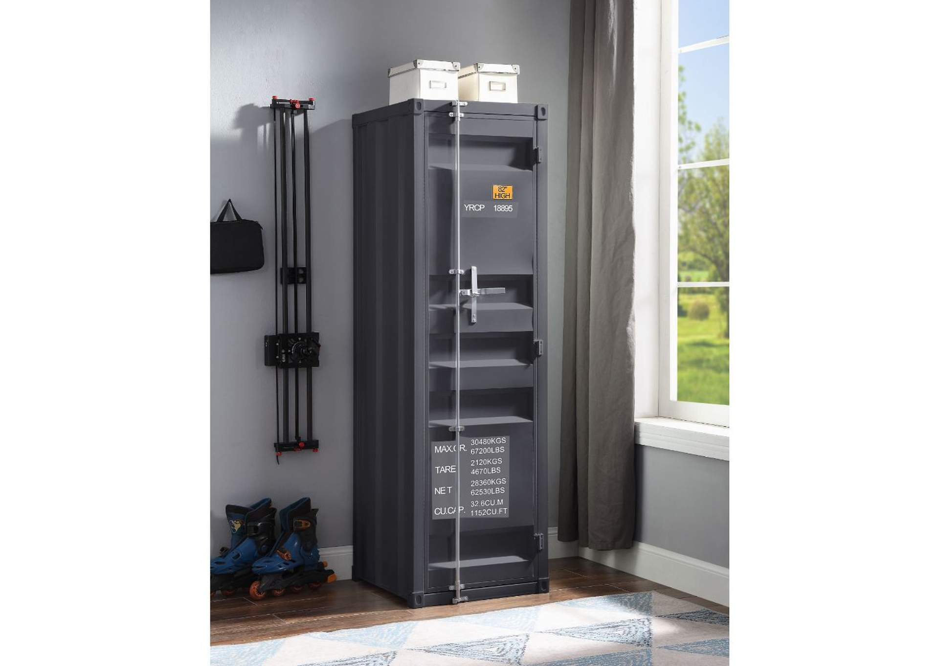Cargo Gunmetal Wardrobe (Single Door),Acme