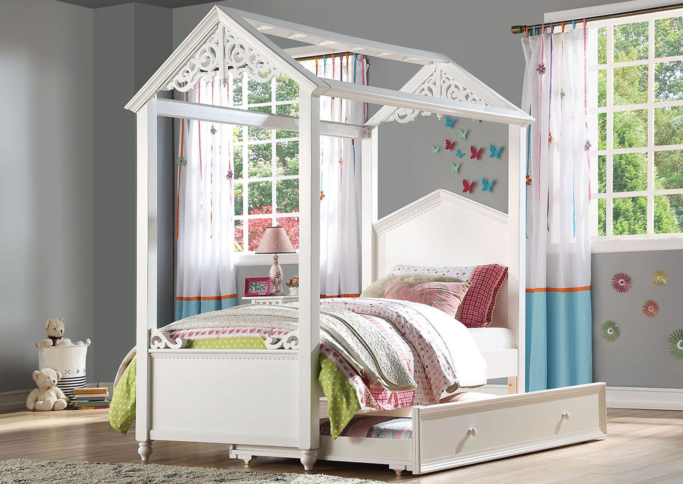 Rapunzel White Twin Bed,Acme