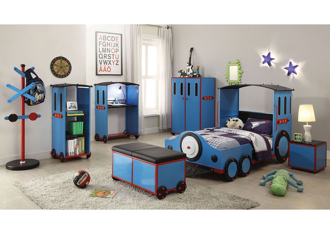 Tobi Blue/Red & Black Train Twin Bed,Acme