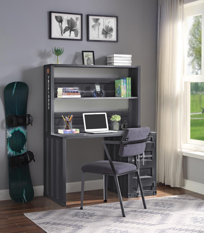 Cargo Gunmetal Desk and Hutch,Acme