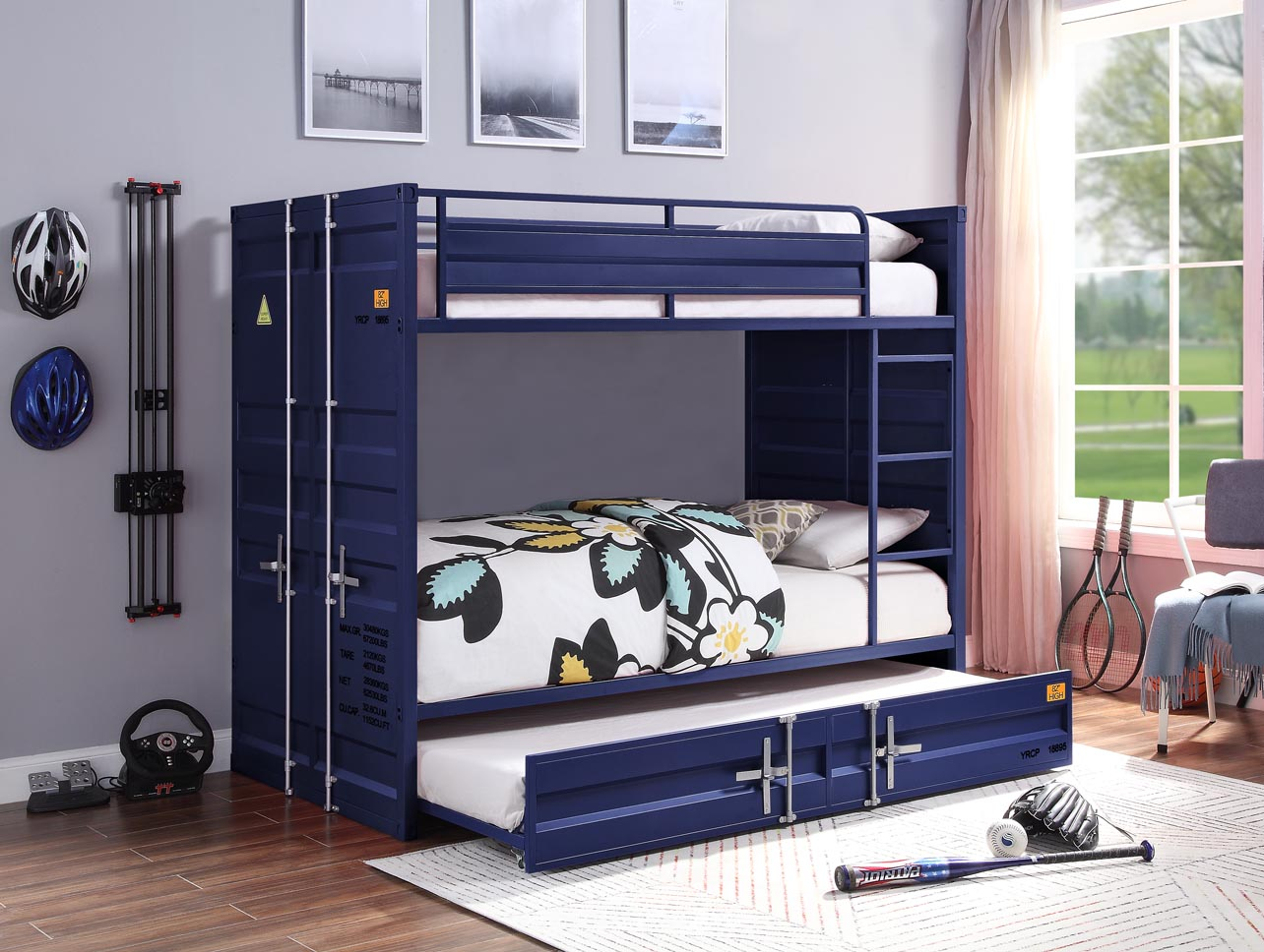 Cargo Blue Twin/Twin Bunk Bed,Acme