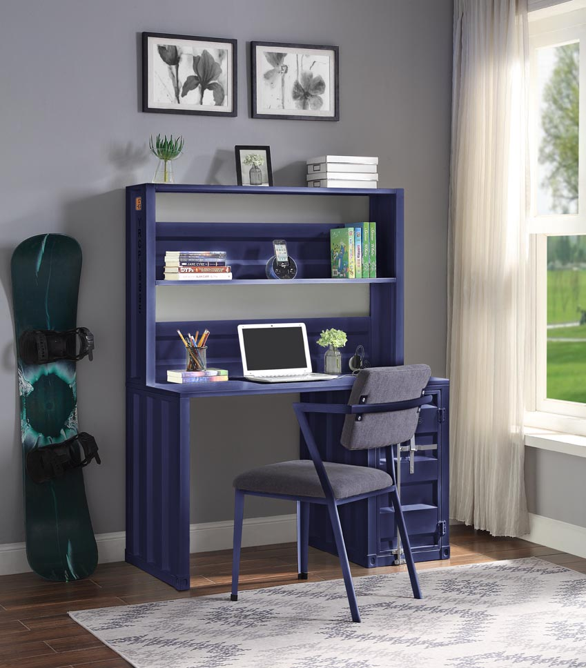 Cargo Blue Desk and Hutch,Acme