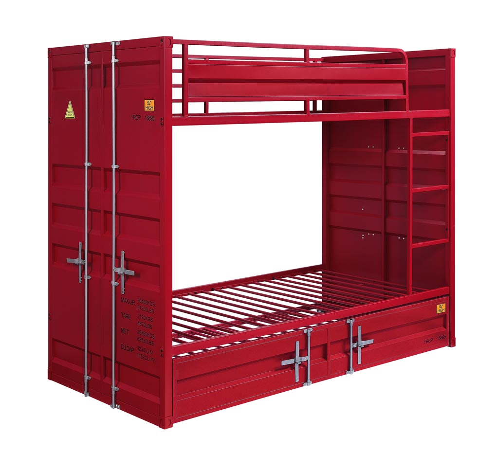 Cargo Red Twin/Twin Bunk Bed,Acme