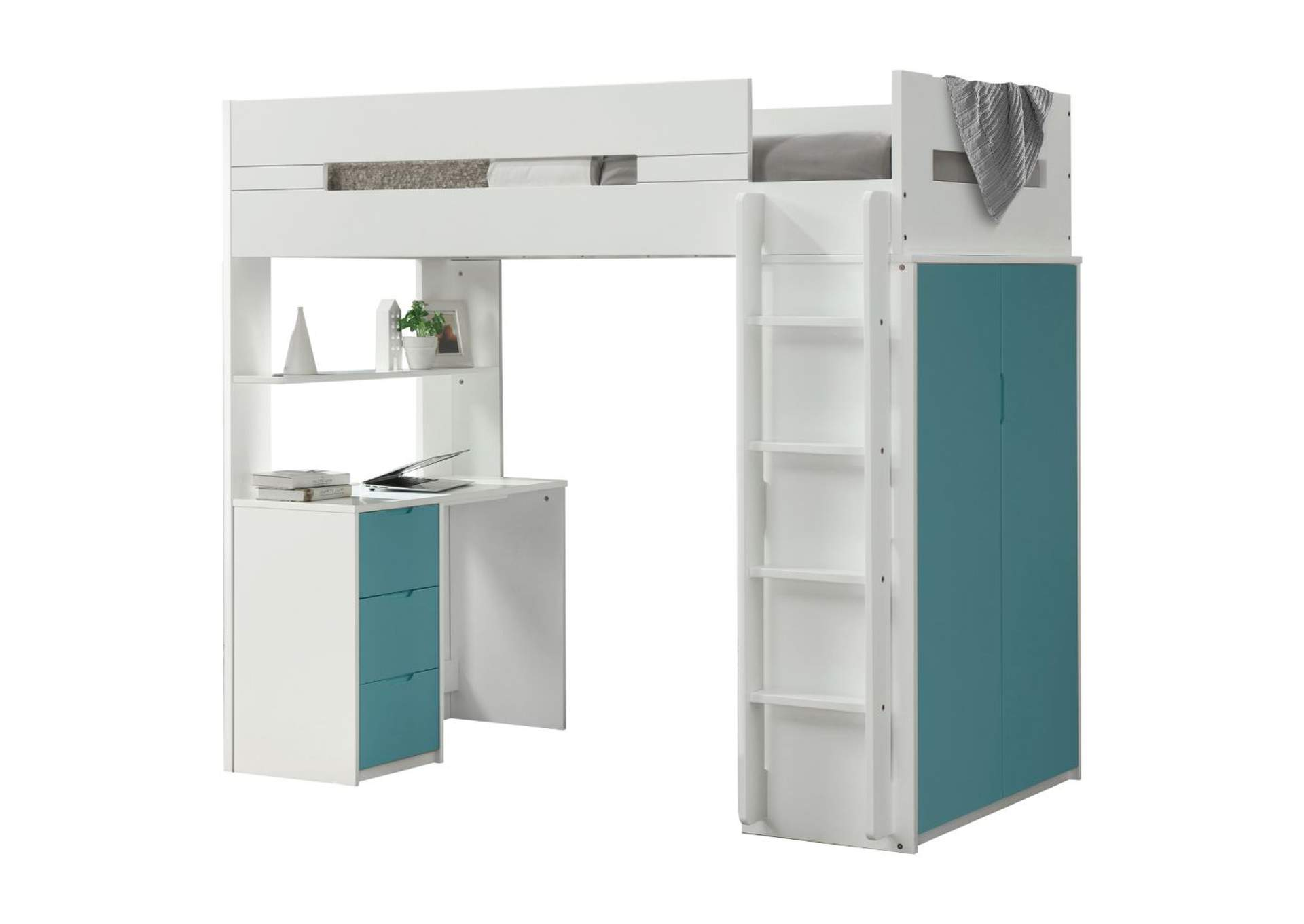 Nerice White/Teal Loft Bed,Acme