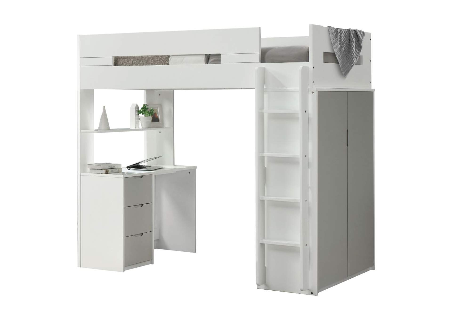 Nerice White/Gray Twin Loft Bed,Acme