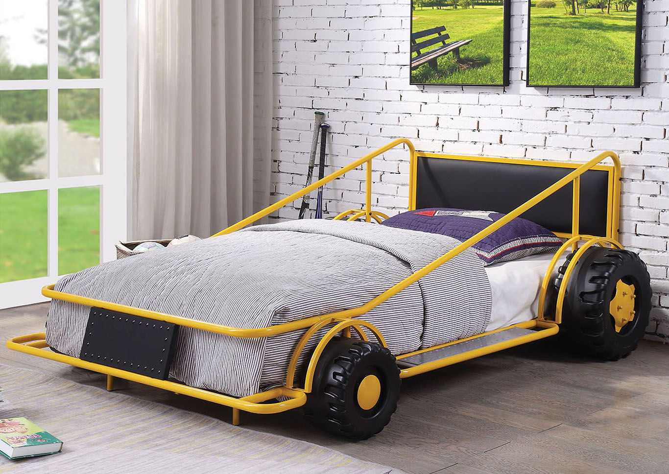 Foothills Family Furniture Taban Yellow Twin Race Car Bed
