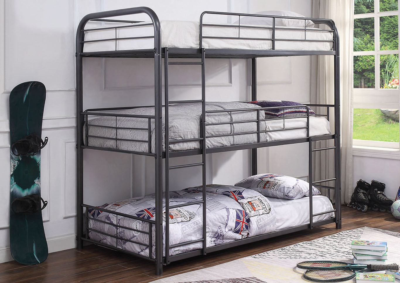 Cairo Gunmetal Bunk Bed - Triple Twin,Acme