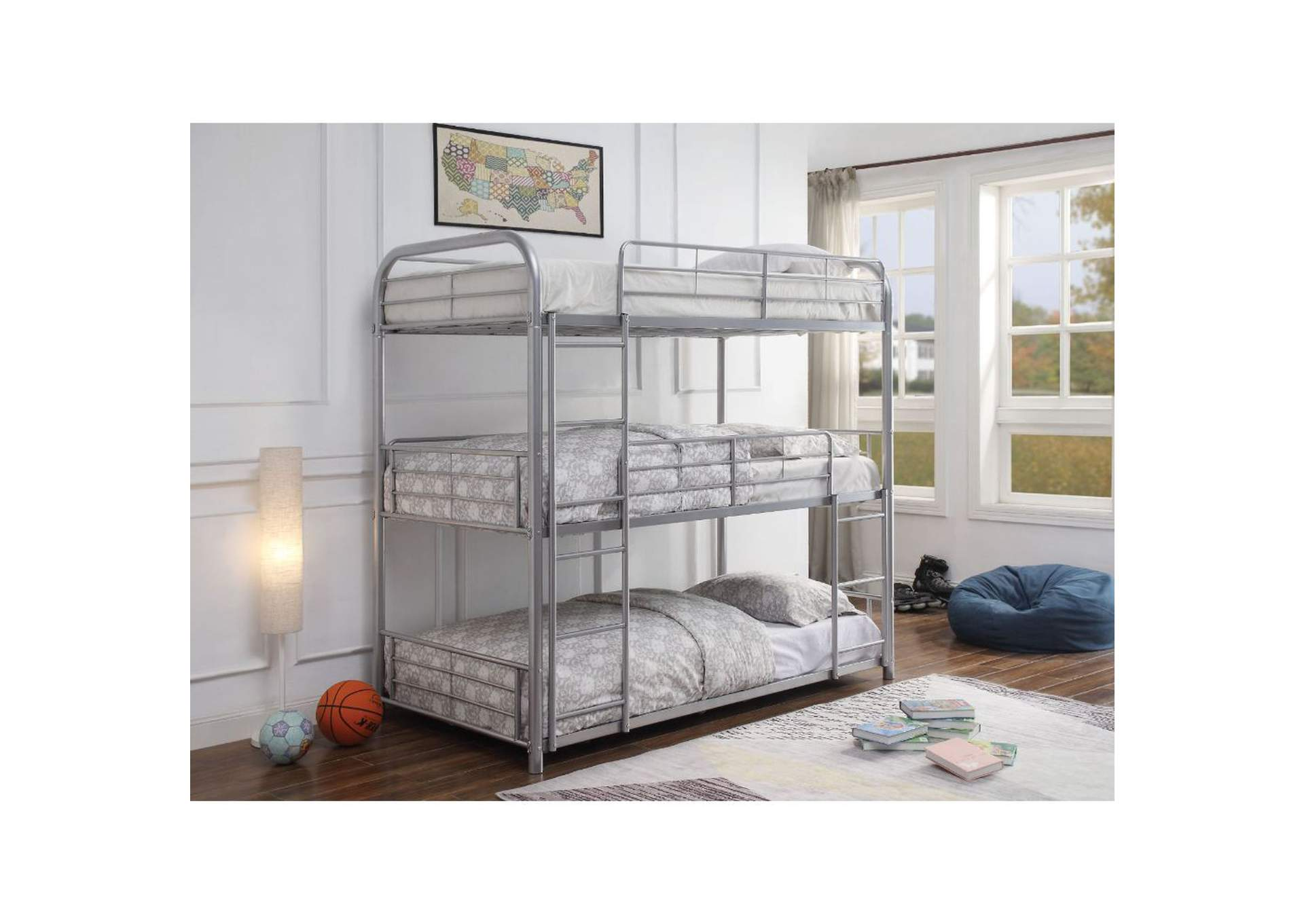 Cairo Silver Triple Twin Bunk Bed,Acme