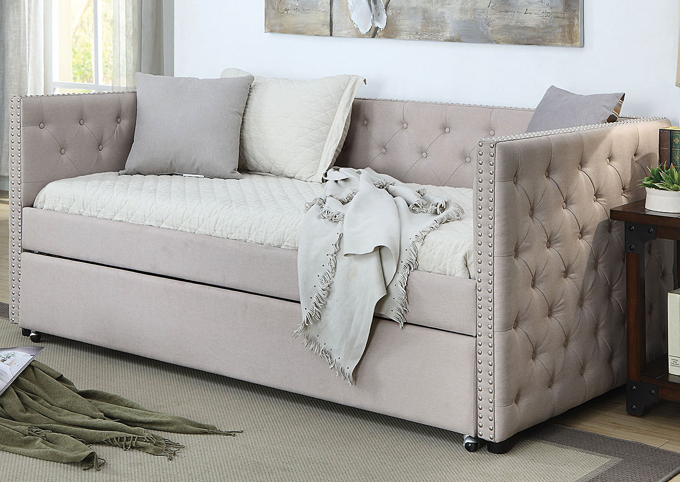Romona Beige Upholstered Daybed w/Trundle,Acme