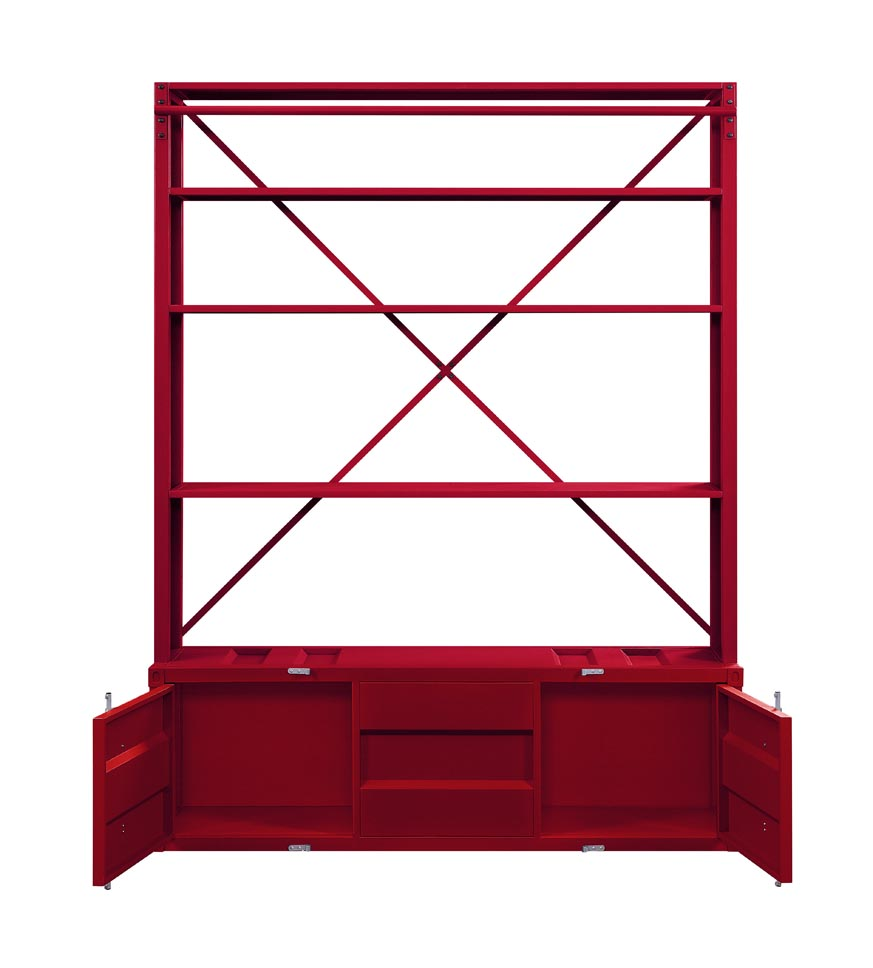 Cargo Red Bookshelf and Ladder,Acme