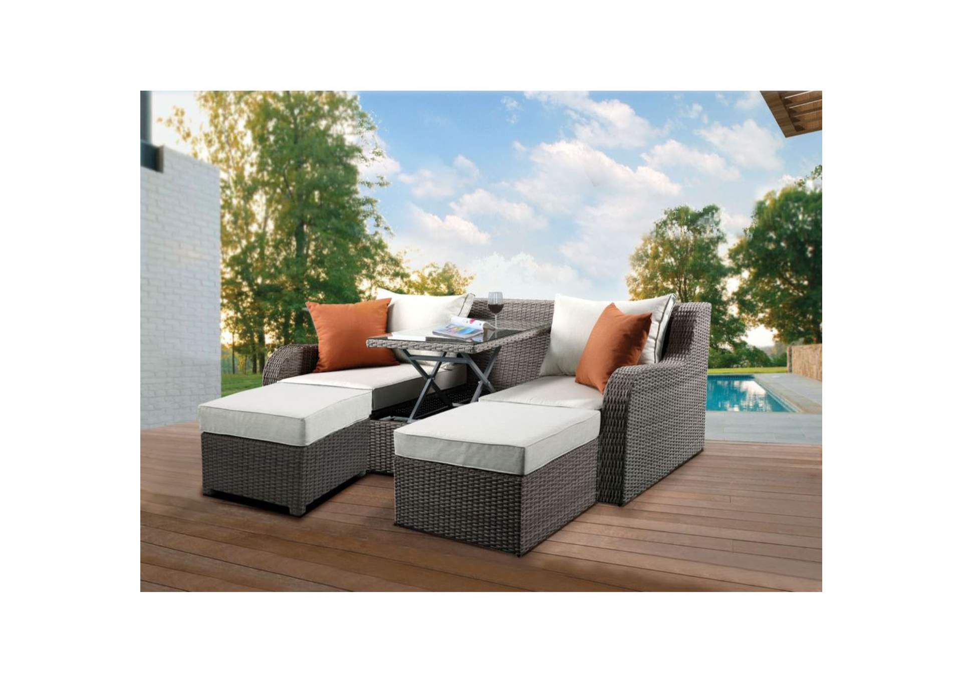 Patio Sectional w/2 Ottoman and 2 Pillow,Acme