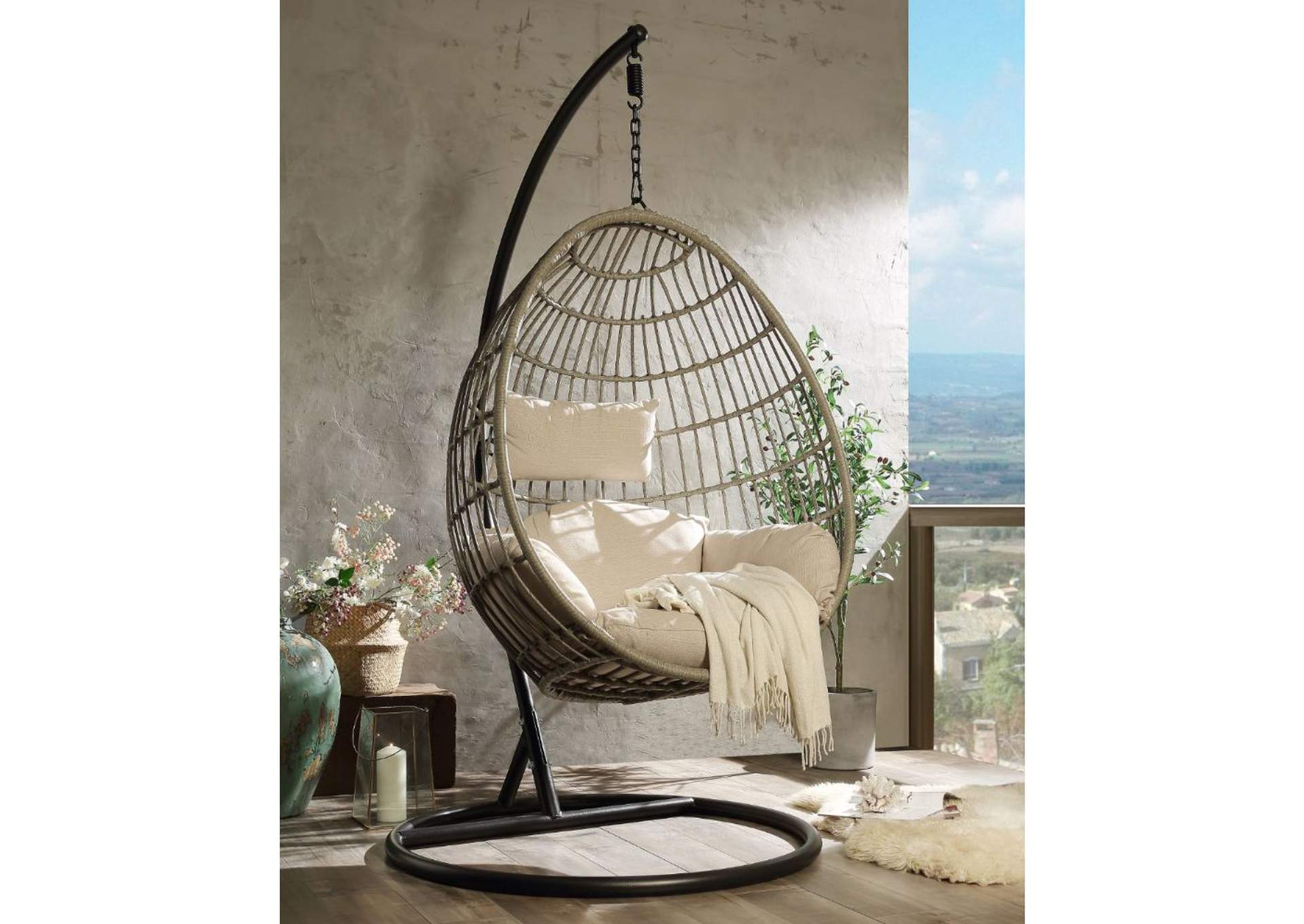 Vasant Patio Swing Chair with Stand,Acme