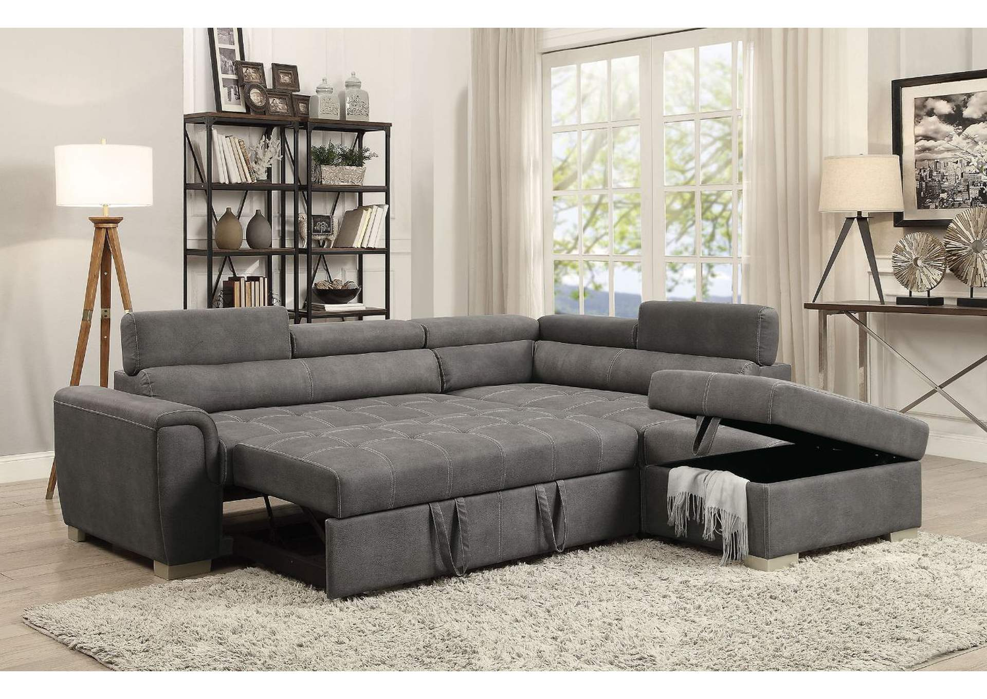 Best Buy Furniture and Mattress Thelma Gray Sectional ...