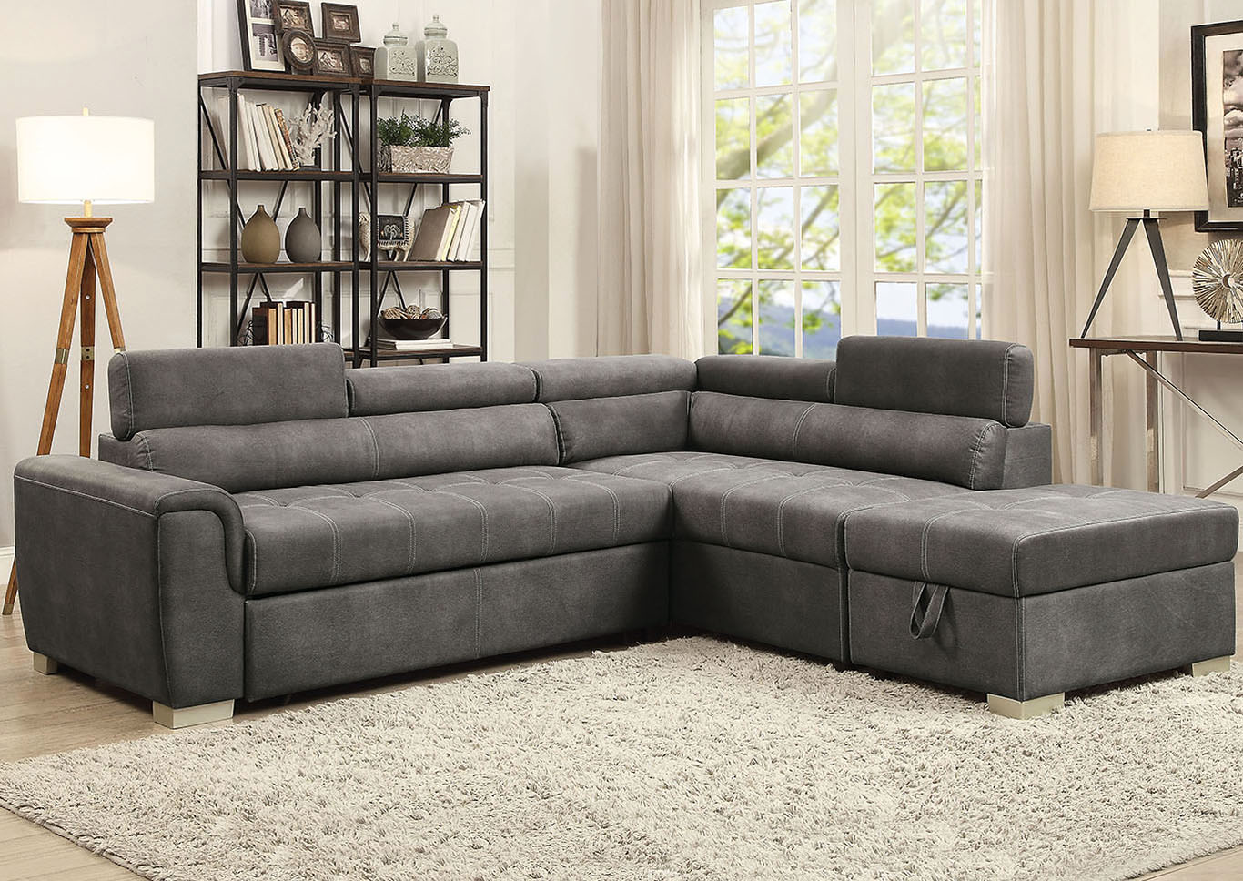 Albert\'s Home Furnishings Thelma Gray Microfiber Sectional ...